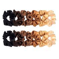 BBTO 12 Pieces Satin Hair Scrunchies Elastic Hair Bobbles Scrunchies Hair Ties for Kids Adults, 6 Colors