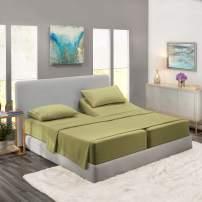Nestl Bedding 5 Piece Sheet Set - 1800 Deep Pocket Bed Sheet Set - Hotel Luxury Double Brushed Microfiber Sheets - Deep Pocket Fitted Sheet, Flat Sheet, Pillow Cases, Split Cal King - Sage