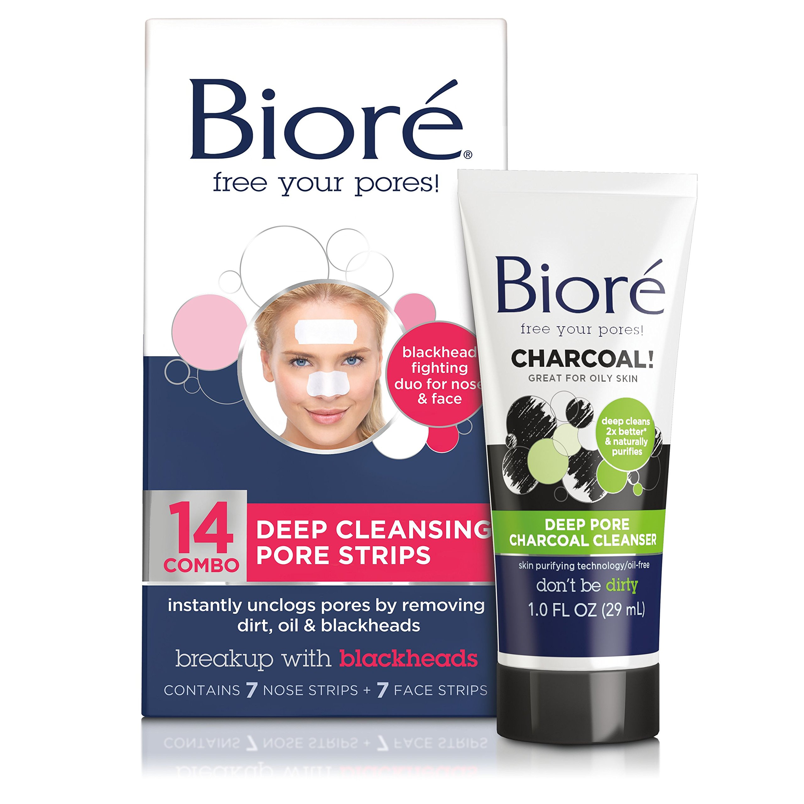 Bioré Deep Cleansing Pore Strips for Nose & Face (14 Count) + Mini Bioré Deep Pore Charcoal Cleanser for Oily Skin