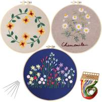 3 Pack Embroidery Kit, Full Range of Embroidery Kit for Beginners with Pattern and Instructions, 3 Plastic Embroidery Hoops, 3 Embroidery Cloth and Color Threads, Needlepoint Kits for Adults