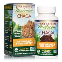 Host Defense, Chaga Capsules, Antioxidant and DNA Support, Daily Mushroom Supplement, Vegan, Organic, 60 Capsules (30 Servings)