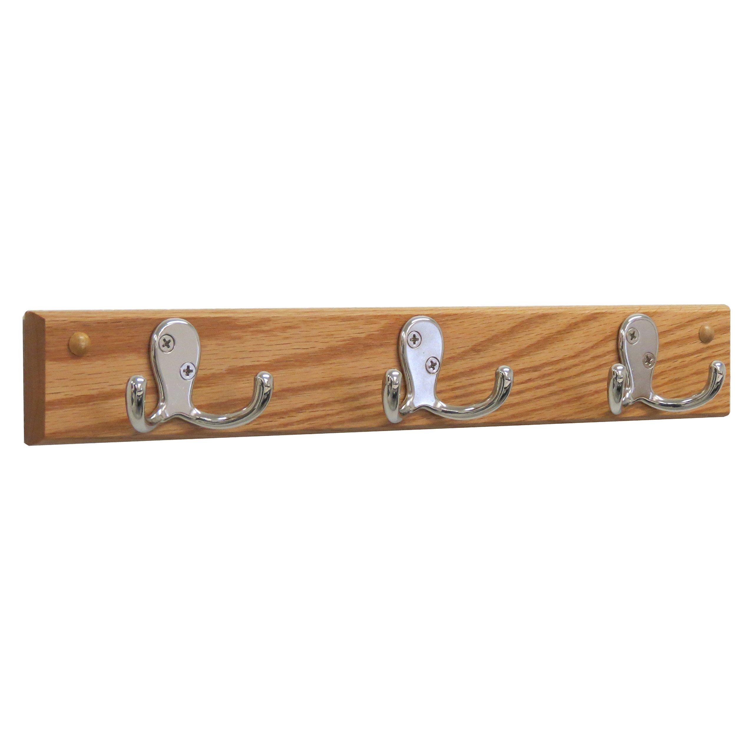 Wooden Mallet, Nickel, Light Oak 3 Double Prong Hook Rail/Coat Rack