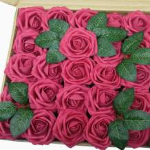 J-Rijzen Jing-Rise Artificial Flowers 50pcs Real Looking Fuchsia Fake Roses for Bride Wedding Bouquet Baby Shower Flowers Centerpieces Party Home Decorations (Fuchsia)