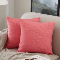 MERNETTE New Year/Christmas Decorations Cotton Linen Blend Decorative Square Throw Pillow Cover Cushion Covers Pillowcase, Home Decor for Party/Xmas 18x18 Inch/45x45 cm, Rose Red, Set of 2