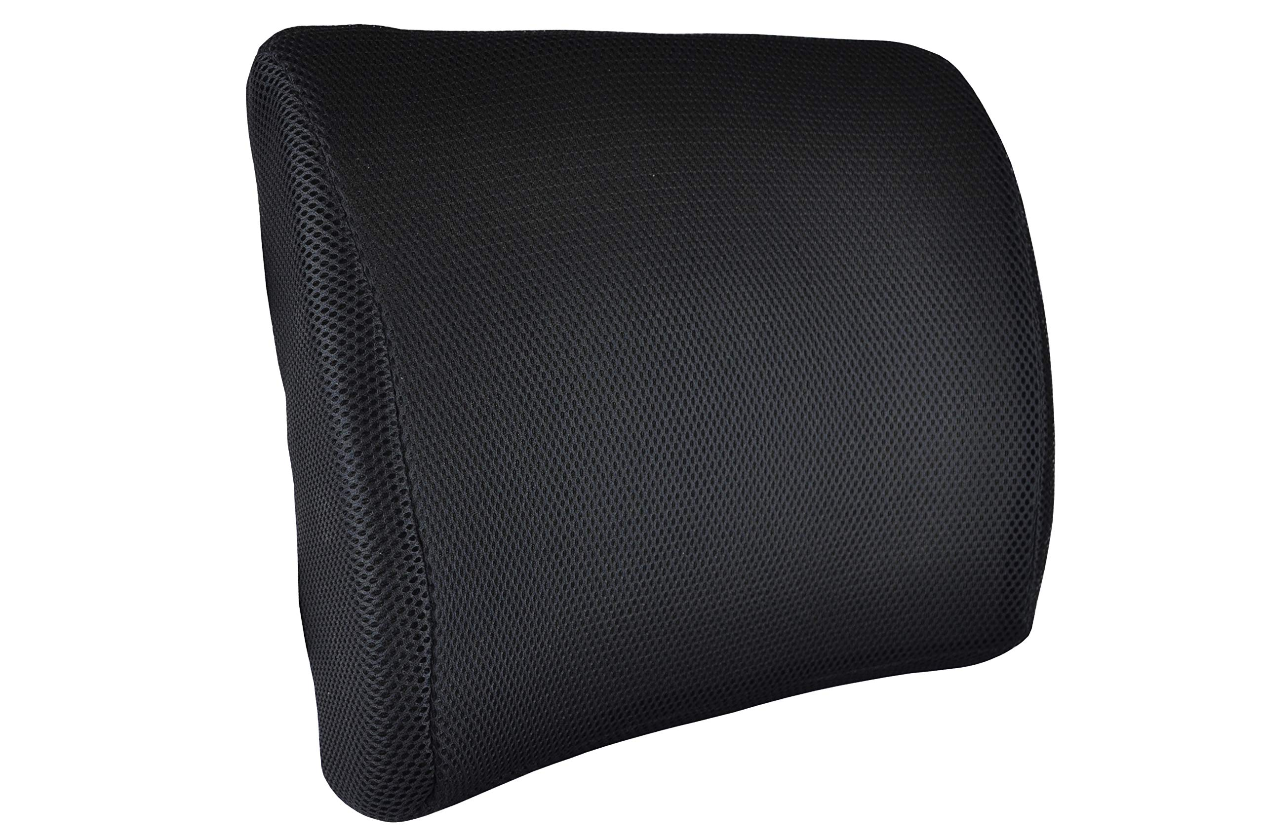 Blue Jay An Elite Healthcare Brand Comfort and Support Memory Foam Lumbar Cushion with Adjustable Straps for Relieves Back Pain and Maintains Posture | Breathable and Washable in Black Color
