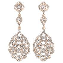 mecresh Wedding Teardrop Dangle Crystal Rhinestone Chandelier Earrings for Brides/Birthday/Party/Dinner Gift