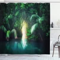"Ambesonne Jungle Shower Curtain, Tropical Lake Mangrove Rainforest Pathway Through Sri Lanka Travel Destination, Cloth Fabric Bathroom Decor Set with Hooks, 70"" Long, Green Teal"