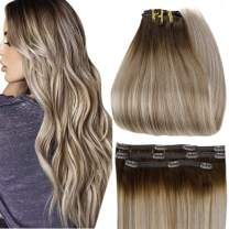 Full Shine Clip in Hair Extensions Human Hair Clip Ins 18 Inch Clip in Human Hair Brown Roots Color 3 Fading To 8 and 22 Blonde Lace Clip In Hair 3 Pcs 50 Gram Hair Clip Ons