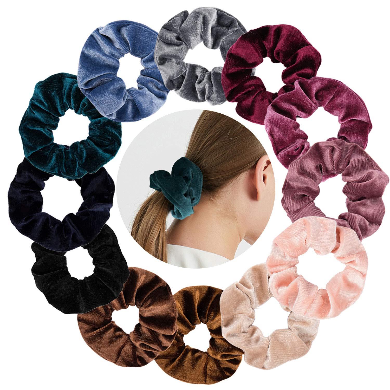 Hair Scrunchies-Whavel 12 Pack Soft Velvet Elastics Scrunchy Bobbles Hair Bands Hair Ties Hair Accessories for Women,12 Assorted Colors (12 Colors)