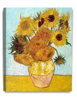 DECORARTS - Twelve Sunflowers, Vincent Van Gogh Art Reproduction. Giclee Canvas Prints Wall Art for Home Decor 20x16