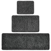 mDesign 100% Polyester Luxury Rectangular Spa Mat Rugs, Plush Water Absorbent - for Bathroom Vanity, Bathtub/Shower, Machine Washable - Runner, Standard & Small Rug, Set of 3 - Heather Charcoal Gray