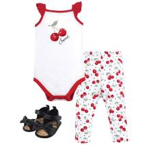 Hudson Baby Baby Cotton Bodysuit, Pant and Shoe Set