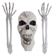 Halloween Haunters Scary Skeleton Bone Arms, Hands and Skull Groundbreaker Yard Stakes Prop Decoration - Life-Size Realistic Spooky Ghoul Scream Face - Haunted House Graveyard Scene Yard Party Display