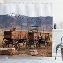 "Ambesonne Barn Wood Wagon Wheel Shower Curtain, Vintage American Carriages Western Historical Transportation Prairie, Cloth Fabric Bathroom Decor Set with Hooks, 70"" Long, Brown"