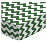 SheetWorld Fitted Crib / Toddler Sheet - Hunter Green Chevron Zigzag - Made In USA