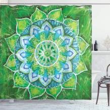 "Ambesonne Mandala Shower Curtain, Grand Mandala with Leaf Forms of Nature and Theme Green Boho Style Print, Cloth Fabric Bathroom Decor Set with Hooks, 75"" Long, Blue Green"