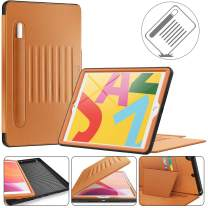 Timecity iPad 7th Generation Case (iPad 10.2 Case). Very Protective But Convenient Magnetic Stand + Smart Sleep/Wake + Elastic Pencil Pocket + Card Holder Cover for iPad 7th Gen, Black/Brown