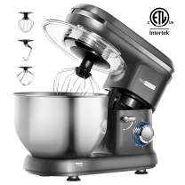 VIVOHOME Stand Mixer, 650W 6 Speed 6 Quart Tilt-Head Kitchen Electric Food Mixer with Beater, Dough Hook and Wire Whip, Gray, ETL Listed