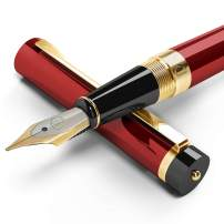 Dryden Designs Fountain Pen Medium Nib, Includes Gift Pouch and Ink Refill Converter, Classic Writing Tool [Dangerous Red] for Left and Right Handed
