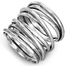 Boho-Magic 925 Sterling Silver Band Rings for Women Wrap Wide Statement Ring