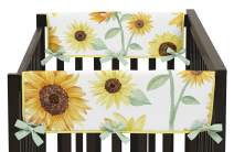 Sweet Jojo Designs Yellow, Green and White Sunflower Boho Floral Girl Side Crib Rail Guards Baby Teething Cover Protector Wrap - Set of 2 - Farmhouse Watercolor Flower