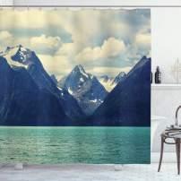 "Ambesonne Mountain Shower Curtain, Northern Norway Atlantic Coastline Fishing Harbor Snowy Nature, Cloth Fabric Bathroom Decor Set with Hooks, 75"" Long, White and Indigo"