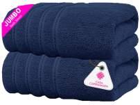 CASA COPENHAGEN Soft Linen Premium, Luxury Hotel & Spa Quality, 35x70 Extra Large Jumbo Size Bath Towel, Bath Sheet Cotton for Maximum Softness and Absorbency, 2 Piece Bath Sheet Set - Navy Blue