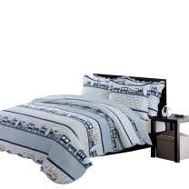 Brandream Kids Comforter Set Queen Size Blue Train Bedding Sets Cotton Quilt Set 3 Piece