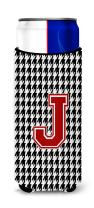 Caroline's Treasures CJ1021-JMUK Monogram - Houndstooth Letter J Ultra Beverage Insulators for slim cans, Slim Can, multicolor