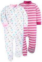 Baby Boys 2-Pack Footed Girls Pajamas Sleepers Rompers Toddler Kids Cotton Pjs with Non-Slipping Sole …