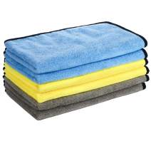 GTF Microfiber Car Cleaning Cloths, 16'' x 24'' Large Microfiber Car Cloth Double-Side Plush & Super Absorbent Car Cleaning Towel for Home Polishing Washing and Detailing (6 Pack)