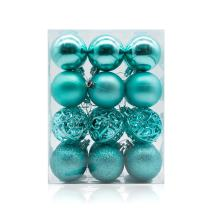 """AMS 60mm/24ct Christmas Ball Pierced Trees Pendant Shatterproof Ball Ornament Seasonal Decorations Ideal for Xmas, Holiday and Party Widgets (2.36"""", Turquoise)"""
