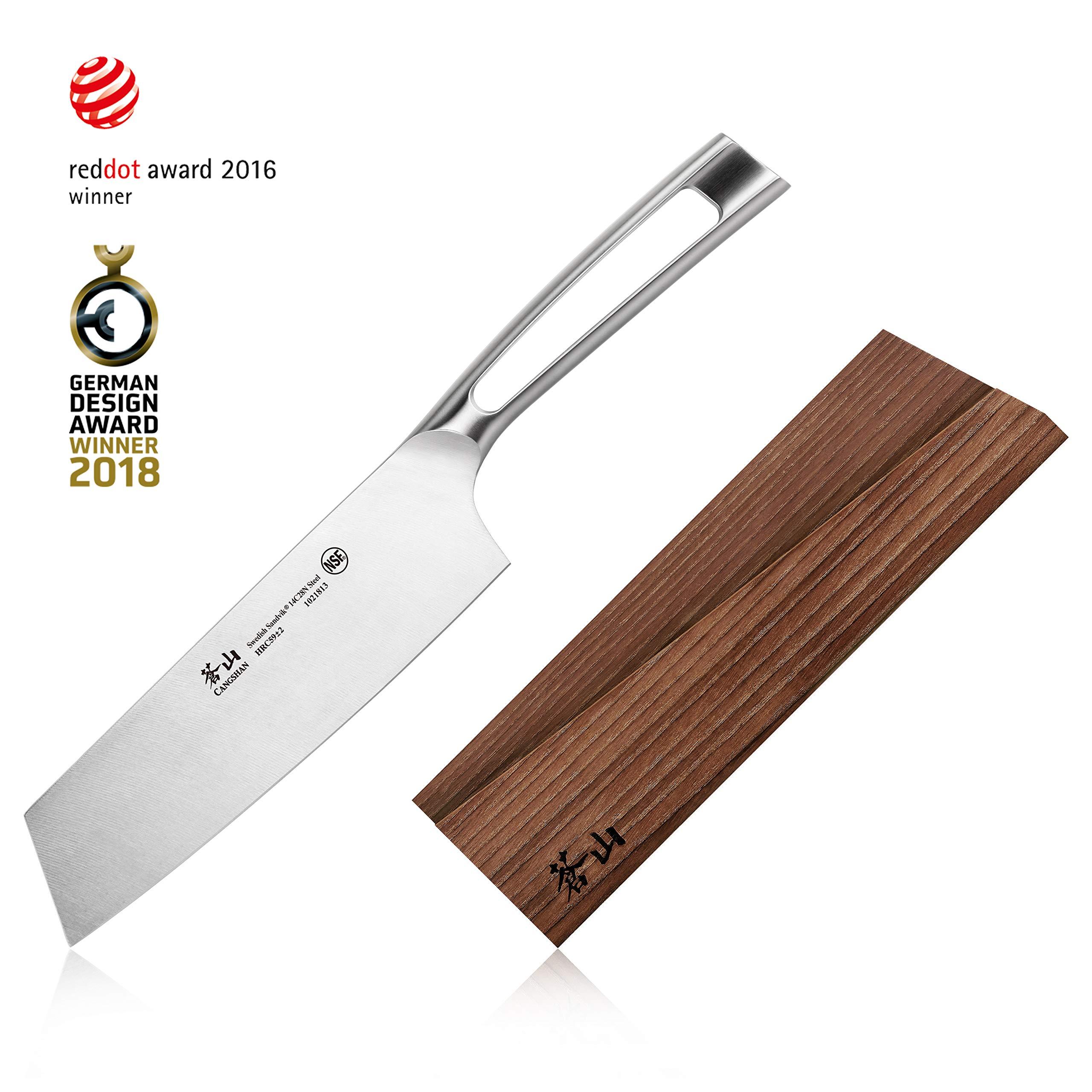 Cangshan TN1 Series 1021820 Swedish Sandvik 14C28N Steel Forged 7-Inch Nakiri Knife and Wood Sheath Set