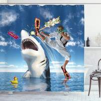 """Ambesonne Sealife Shower Curtain, Unusual Marine Navy Life Animals Fish Sharks with Karate Kid and Comics Balloon Art, Fabric Bathroom Decor Set with Hooks, 69"""" W By 70"""" L, Multi 7"""
