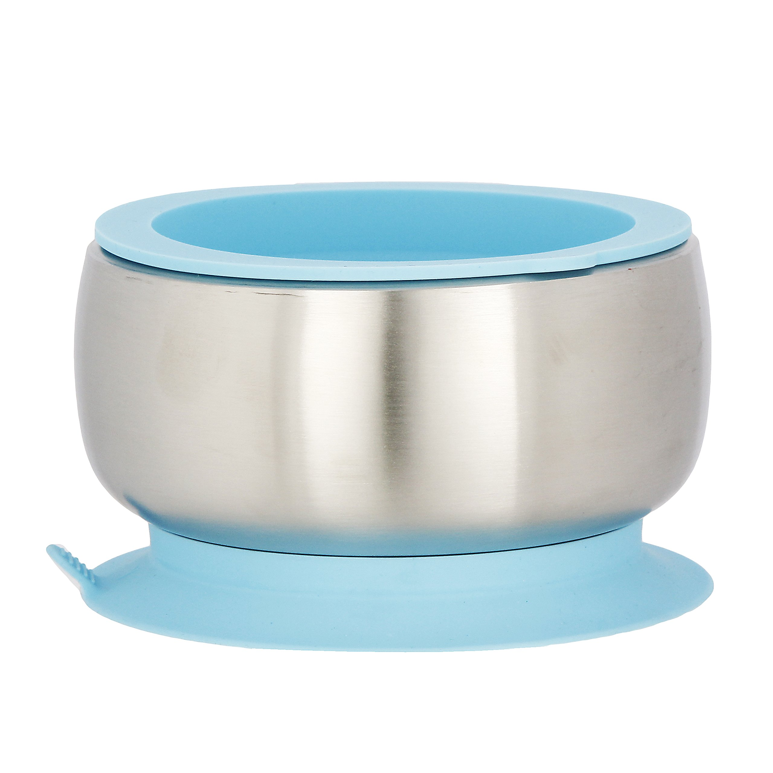 Avanchy Baby Toddler Feeding | Stainless Steel Stay Put Bowl Suction + Soft Container Safe Lid Set | BPA Free | Great Infant Gift Pack (Blue)