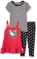 U.S. Polo Assn. Baby Girl's Striped Knit T-Shirt, Peplum Tunic Tank Top, and Legging Set Pants