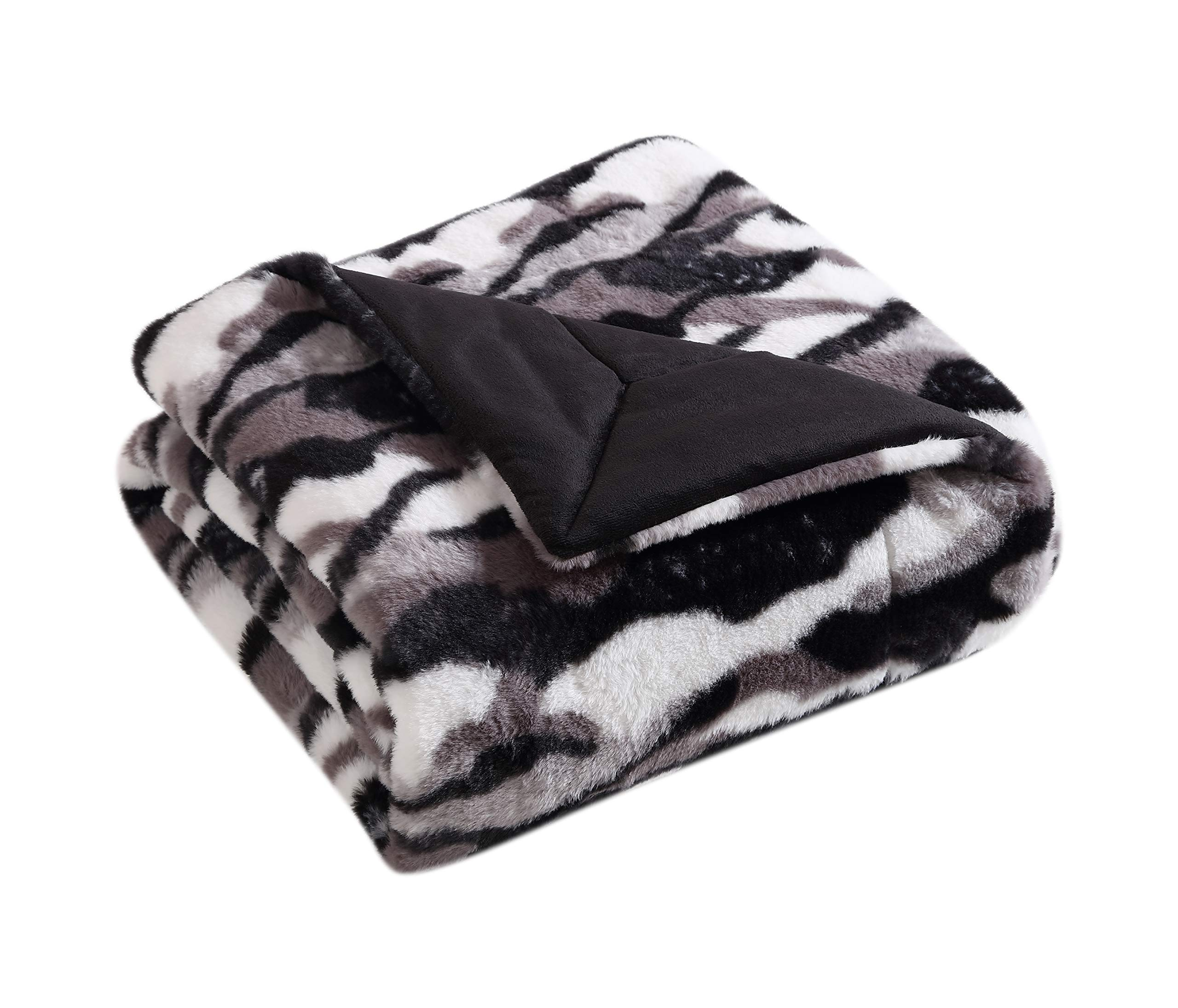 Morgan Home Fashions Luxury Ultra-Plush Textured Faux Fur Throw Blanket- Soft, Warm & Cozy Solid Faux Mink Plush Back 3 Colors Available (Exotic)