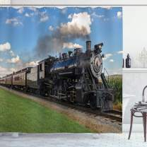 "Ambesonne Steam Engine Shower Curtain, Vintage Locomotive in Countryside Scenery Green Grass Puff Train Picture, Cloth Fabric Bathroom Decor Set with Hooks, 75"" Long, Blue Green"