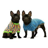 Fitwarm 2-Pack 100% Cotton Striped Dog Shirt for Pet Clothes Puppy T-Shirts Cat Tee Breathable Strechy