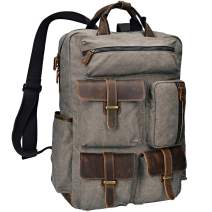 ALTOSY Canvas Backpack Vintage Leather Laptop Bags Men Women Travel Rucksack