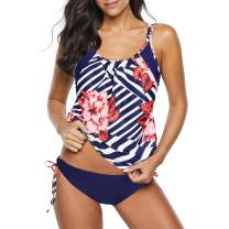 Zando Women's Sporty Two Piece Double Up Tankini with Panty Stripe Lined Up Swimwear Bathsuit Swimsuits for Womens