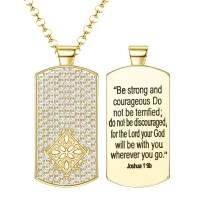 JOERICA Dog Tag Necklace for Men Women Military Dog Tags Pendant Chain Necklace with Words Inspirational Necklace