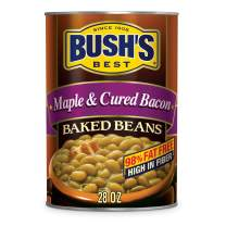 BUSH'S BEST Canned Maple and Cured Bacon Baked Beans (Pack of 12), Source of Plant Based Protein and Fiber, Low Fat, Gluten Free, 28 oz