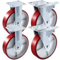 BestEquip 4 Pack 8 x 2 Inch Caster Wheels 2 Rigid and 2 Swivel Casters with Dual Locking Polyurethane Iron Core Plate 1100LBS Capacity per Wheel