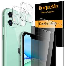 [4 Pack] UniqueMe 1 Pack Tempered Glass Privacy Screen Protector +1 Pack Clear Screen Protector+2 Pack Camera Lens Protector 9H Hardness for iPhone 11 (6.1 inch)
