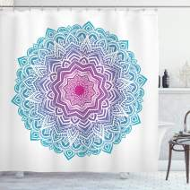 """Ambesonne Mandala Shower Curtain, Round Floral Starry Pattern with Soft Aqua Color Meditation Theme, Cloth Fabric Bathroom Decor Set with Hooks, 84"""" Long Extra, White Pink Blue"""