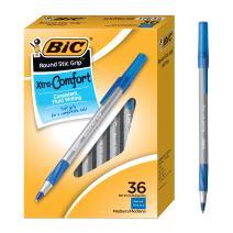 BIC Round Stic Grip Xtra Comfort Ballpoint Pen, Blue, 36 Count