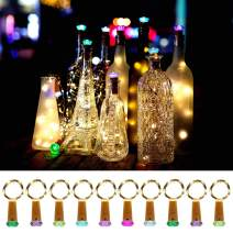 Bottle Cork Lights, 10 Pack Fairy String Lights 30 Batteries Pre-installed+30 Free Battery Replacement Included Battery Operated LED Copper Wire Starry lights- Color Changing Cork Head