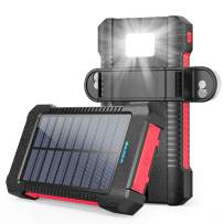 LATIMETIA Solar Power Bank, 26800mAh Solar Charger Portable Battery Pack Dual USB Outputs, Powered Charger with LED Camping Light/Carabiner/Suction Cup Mount, Waterproof Solar Panel Charging (Red)