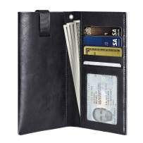 PULOKA iPhone 11 Pro Max Wallet Case, Sleeve for iPhone Xs Max with Card Holder [Phone Pouch] Money Pocket [Magnetic Closure] iPhone 6/6s/7/8 Plus Cover [Black]